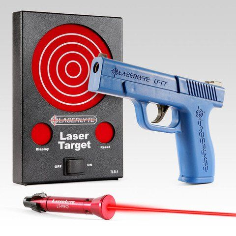 LaserLyte Pistol Laser training system: http://www.laserlyte.com/collections/lts