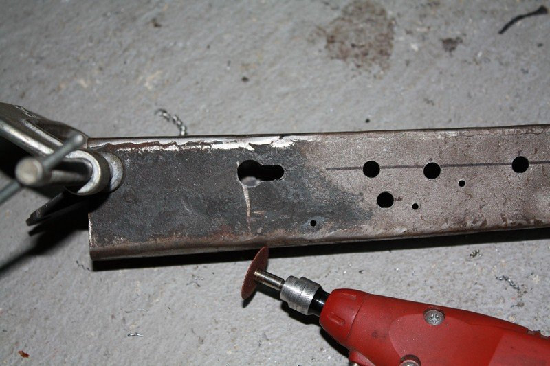 Shovel receiver formed and  control holes cut.