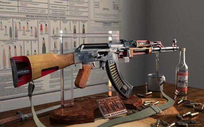 Desktop Quality Cut-Away Diagrams of AK-47, 1911, MGL, & Mosins