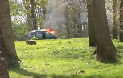 British Family on Safari Caught Between Burning Car and Lions