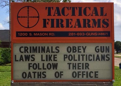 Gun Store Famous for Political Signs Alleges Backlash From Their Bank That Could Shut Them Down