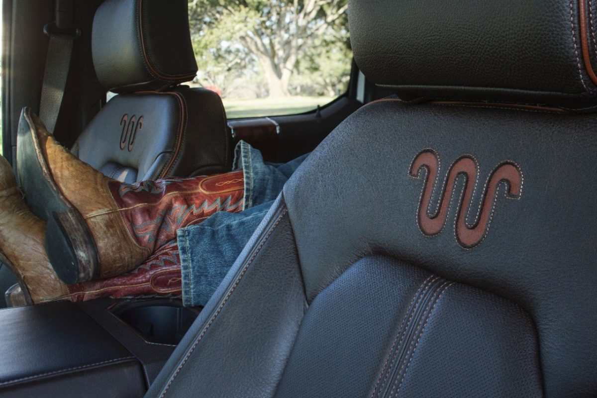 New King Ranch interior with Mesa Brown leather and burled wood accents
