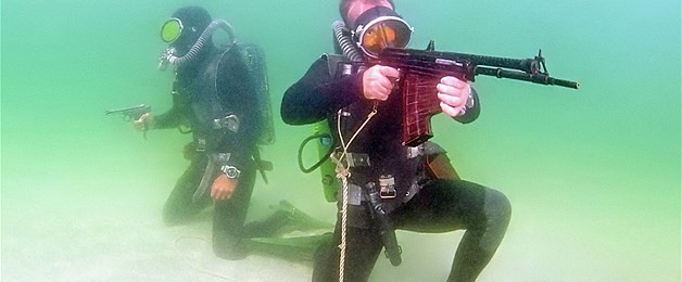 Russian Marines Training with the APS Underwater Assault Rifle