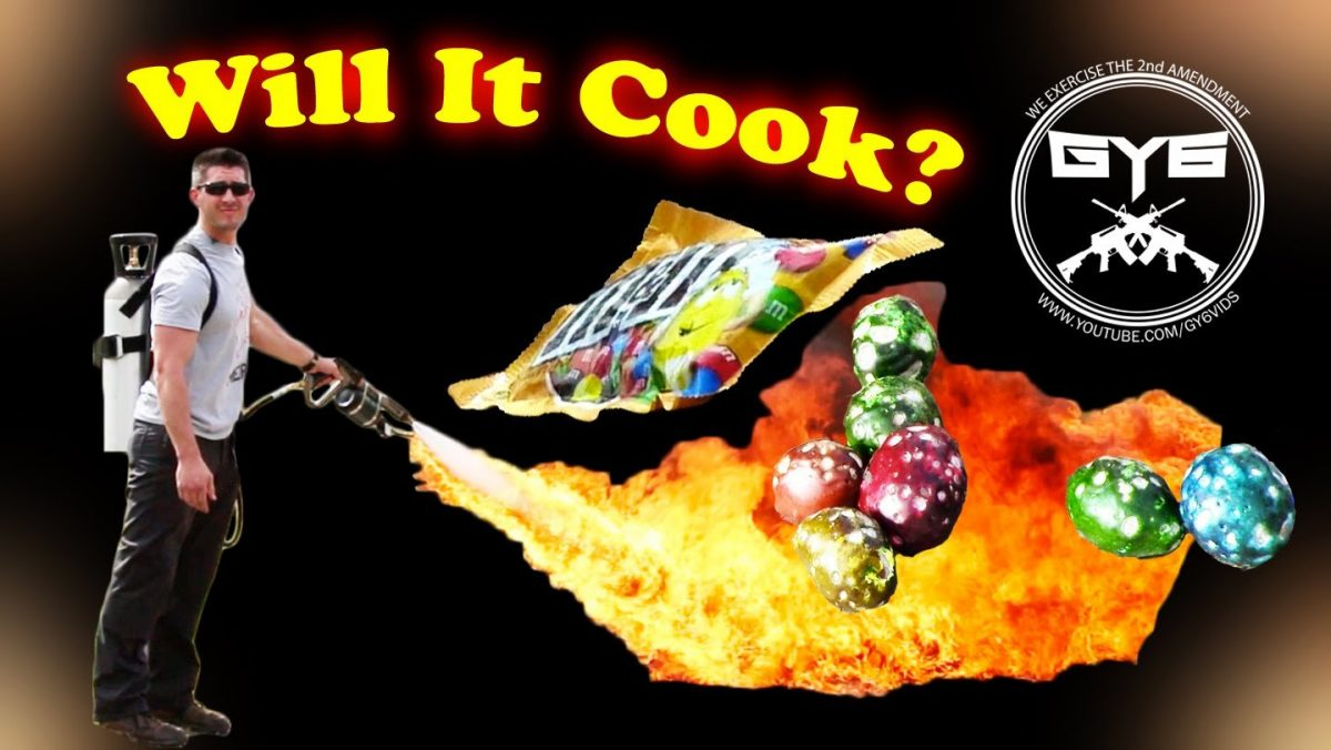 M&M's melt in your mouth, how 'bout a flamethrower? (VIDEO)