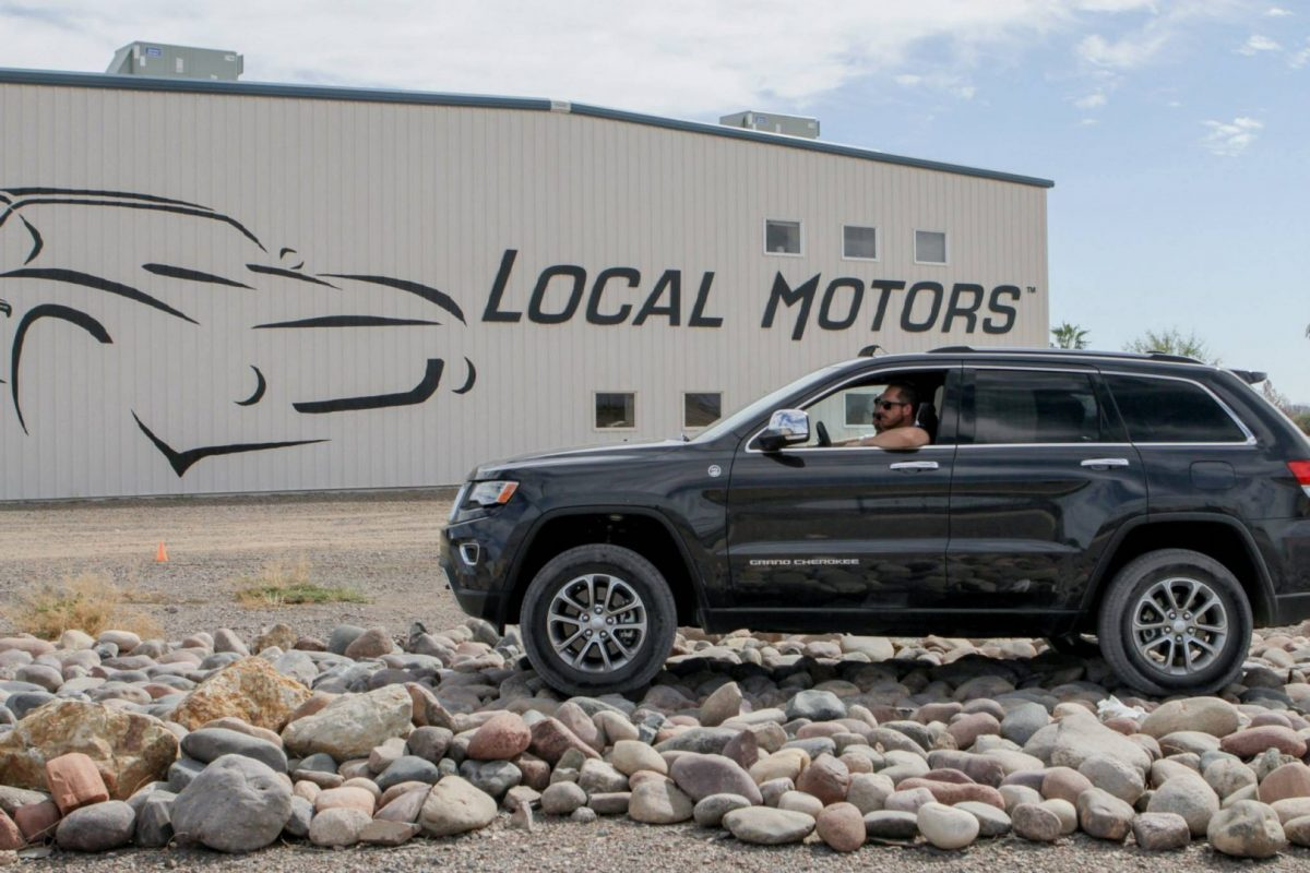Off-road rated vehicles took on an extended rock crawl at the Active Lifestyle Vehicle competition at Local Motors.