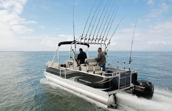 A saltwater center console pontoon boat yeah again for Best fishing pontoon