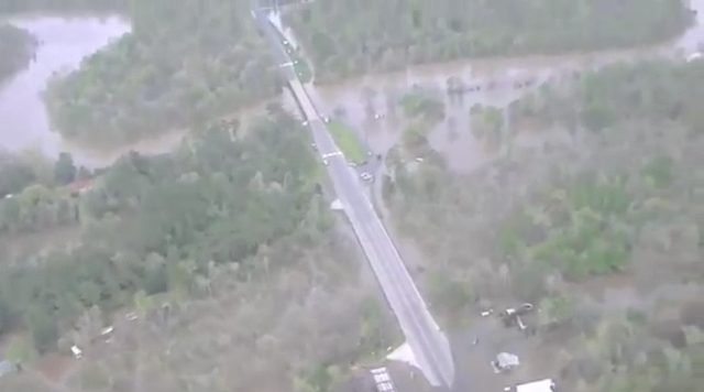 An aerial view of the East Texas flooding (video)